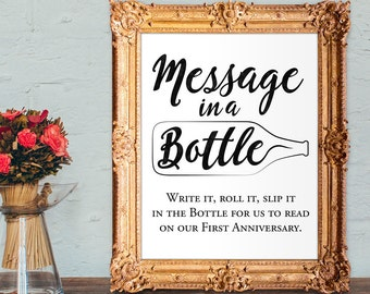 Wedding Guest Book Sign - Message in a bottle anniversary PRINTABLE 8x10 and 5x7 wedding sign