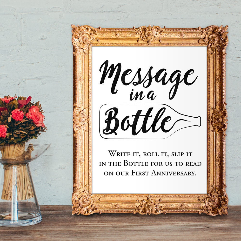 Wedding Cork Guest Book: Wedding Guest Book Sign Message In A Bottle Anniversary