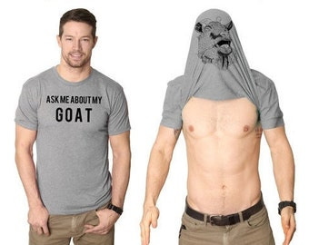 Goat Shirt Men, Goat Flip Shirt, Goat Gifts, Goat Owner Present, Flip Up Shirt Goat, Stag Do Shirts, Bachelor Party Shirts