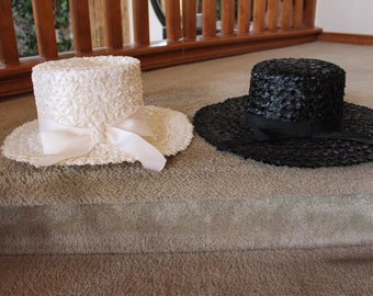 Vintage Spectator Hats Black/White     2 PC LOT