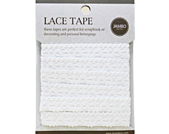 Adhesive deco fabric cotton lace tape M 07 - white by J&Bobbin