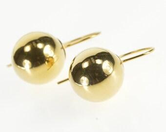 14K Sphere Ball Round Dangle Hook Back Earrings Yellow Gold