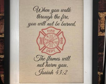 Firefighter Bible Verse - Isaiah 43:2 - Firefighter Gift - Maltese Cross - Firefighter Prayer - Firefighter Decor  - Canvas Print