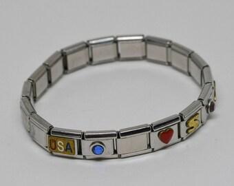 Patriotic Silver tone Stretchable Bracelet