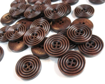 Dark coffee brown Wooden Sewing Buttons 20mm - set of 8 natural circle wood button