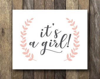 It's a Girl Sign - Instant Download Printable - Gender Reveal Photo Prop - It's a Girl Printable - Gender Reveal Sign