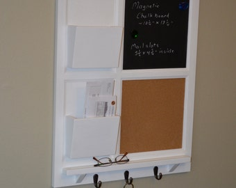 MAGNETIC Chalkboard & Cork board with Two Mail Organizer letter holder  Key / Coat / Hat rack - RusTic - Home Decor
