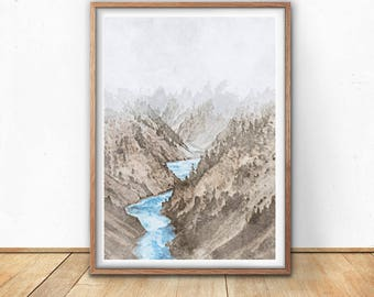 Mountain Print, Mountain Printable, Mountain Wall Art, Landscape Art, Landscape Wall Art, Nature Print, Nature, Wall Art, Instant Download