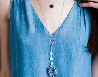 Moonstone and Gold Edged Blue Agate Stone Stack Necklace