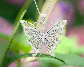 Butterfly Filigree Necklace Pendant