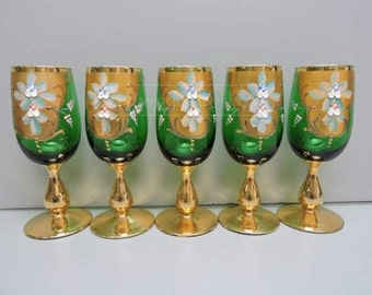 Bohemian Wine Goblet, Emerald Green with gold accent , set of 5