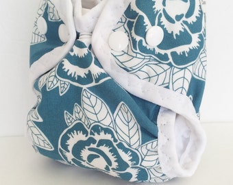 Floral Newborn Cloth Diaper or Cloth Diaper Cover for Baby, AI2 style with or without absorbent liner