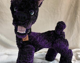 "Little Sister! 18"" artist puppy dog plush movable eyes soft minky purple fur by Karen Knapp of Tindle Bears"