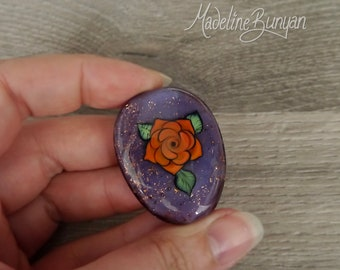 Orange Tattoo Style Rose, glittery Purple, graphic rose, outline rose, black outline, illustration, Lampwork glass Focal Bead, pendant bead