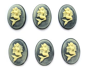 6 Ivory color on Black Vertical Mermaid with Seashell Cameos 25mm x 18mm Cameo Sea Nymph Siren MERMAIDS to make Costume Jewelry or Crafts