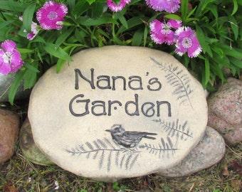 """Nana gift, Nana stone, Handmade Mother's day gift for Nana Rustic Outdoor decor. Sculpted garden art with bird. """"Nana's Garden"""" sign."""