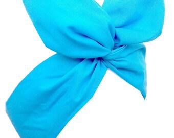 Pin up Aqua Blue wire Headband Hair Wrap