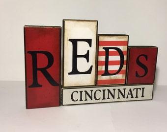 Cincinnati Reds Word Blocks - Reds Wooden Block Set