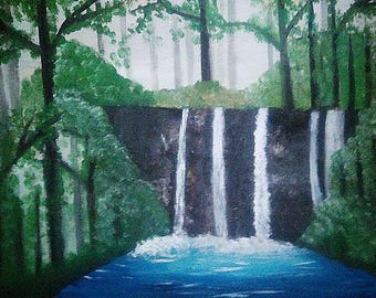 Waterfall Original Acrylic painting Original Wall Art Original Painting Nature Painting Home Decor Wall Art