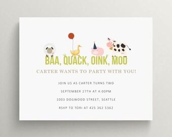farm animal birthday invitation, farm invitation, barn yard invitation, farm party, cow, sheep, pig, duck