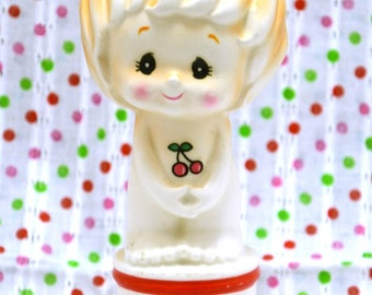 SALE - RARE Vintage Ceramic Girl Figurine with Cherry pattern Piggy Coin Bank from Japan 60s