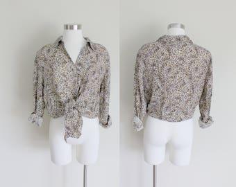1980s Leopard Print Blouse | Silk Blouse | Silk Leopard Blouse | Large