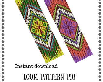 Loom bead patterns Ethnic theme Native American Loom pattern in PDF instant download Beading patterns Bracelet cuff patterns Loom stitch