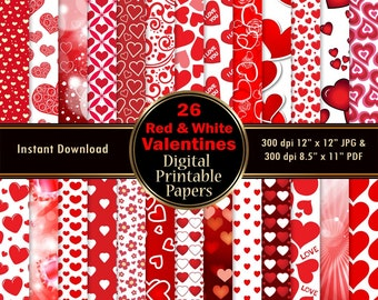 Valentine's Day Digital Paper Red & White Background Printable Wrapping 26 Hearts Scrapbook Paper Love DOWNLOAD 12x12 JPG PDF