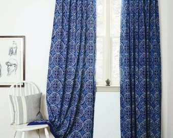 "blue curtains navy window bohemian nautical home decor housewares block print home living - ONE panel - GREECE indigo 57""w x 84""L"