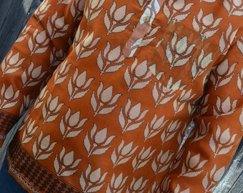 Men's Handmade Indian Woven Cotton Lined Long Sleeve Banded Round Collar Winter Warmth Dress Shirt - Rust Orange Ivory Floral - Ailill I956