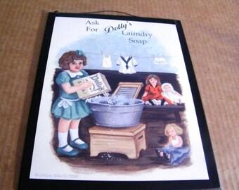 Dolly's LAUNDRY  Sign Retro Primitive Country Laundry Room Wall Decor