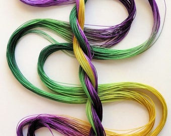 "Size 40 ""Mardi Gras"" hand dyed thread 6 cord cordonnet tatting crochet cotton"