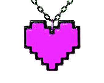 Undertale Cosplay Necklace Digital 8 Bit Pixel Heart Zelda Heart Container Purple For Perseverance
