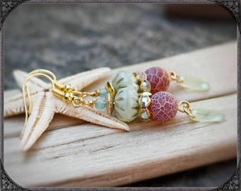 mint-red-gold coloured Earrings