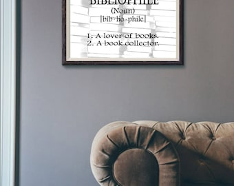 Bibliophile - Library Wall Art - Gift for Book Lover or Gift for Librarian - Reading Nook Wall Art - 8x10 PDF - PRINTABLE DOWNLOAD
