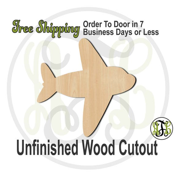 """Airplane 2- 2"""" to 6"""" Minis- 10010- Small Wood Cutout, unfinished, wood cutout, wood craft, laser cut shape, wood cut out, ornament"""
