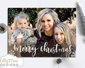 Christmas Photo Card, Full Photo Christmas Card, Snowflakes, calligraphy, cursive, digital christmas card, snow, cute christmas card, white