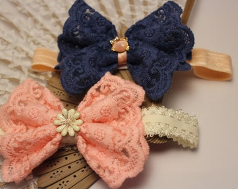 Kanzashi handmade headband with lace loop baby girl hair band in two different color