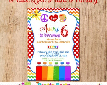 PEACE, LOVE,  PAINT Primary Colours invitation - You Print