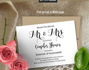 Mr and Mrs Couples Shower Invitation, Printable Wedding template, black and white, Instant download editable pdf A501