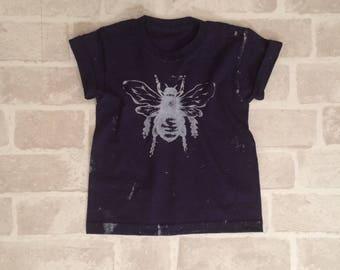 Navy Kids Bee Tee - Screen Printed