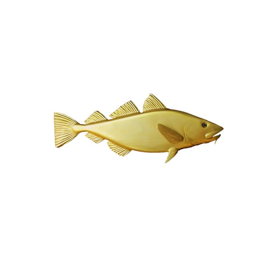 Golden Cod wood carving 30\'\' home decor wall decor