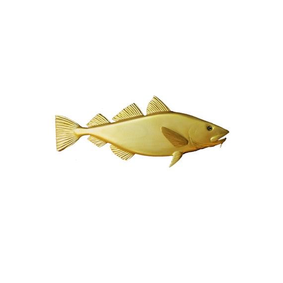Golden Cod wood carving, 30\'\' home decor, wall decor, nautical decor, coastal living, New England decor beach decor, marine decor