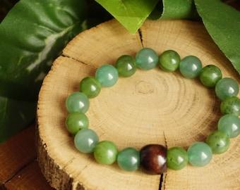 Wellness~ 10 mm Nephrite Jade,Green Aventurine Beads Bracelet,Yoga Stone Bracelet