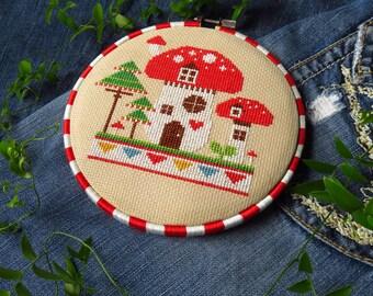 Mushroom House Cross Stitch Pattern PDF, Fairy Garden, Woodland Nursery Décor, Toadstool, Gnome House, Waldorf Fairy House, Faerie House