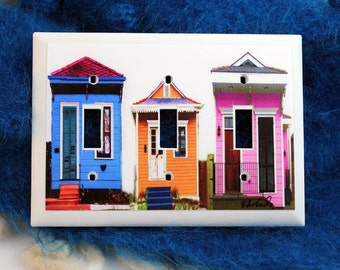 Light Switch Cover..New Orleans....Triple....shotgun houses.. colorful....Photograph....hand assembled...home decor