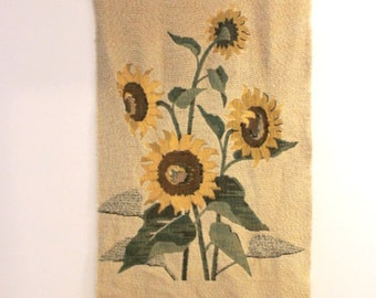 Vintage 50s textile wall hanging, 60s tapestry,  sun flowers, mid century, housewarming gift, wedding gift