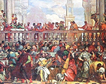 The Wedding at Cana - Veronese - Italian Painter - Masterpiece Painting - 1966 Vintage Print Reproduction - 12 x 15