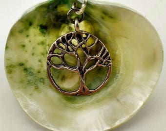 Natural Green Clam Shell Pendant - Brooch with Tree of Life- 169A