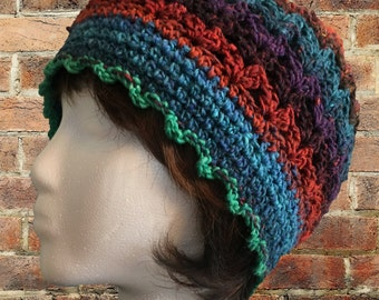 Bess's Beanie, slouchy hat, multi, teens and adults, one of a kind, cap or toque, 3 seasons